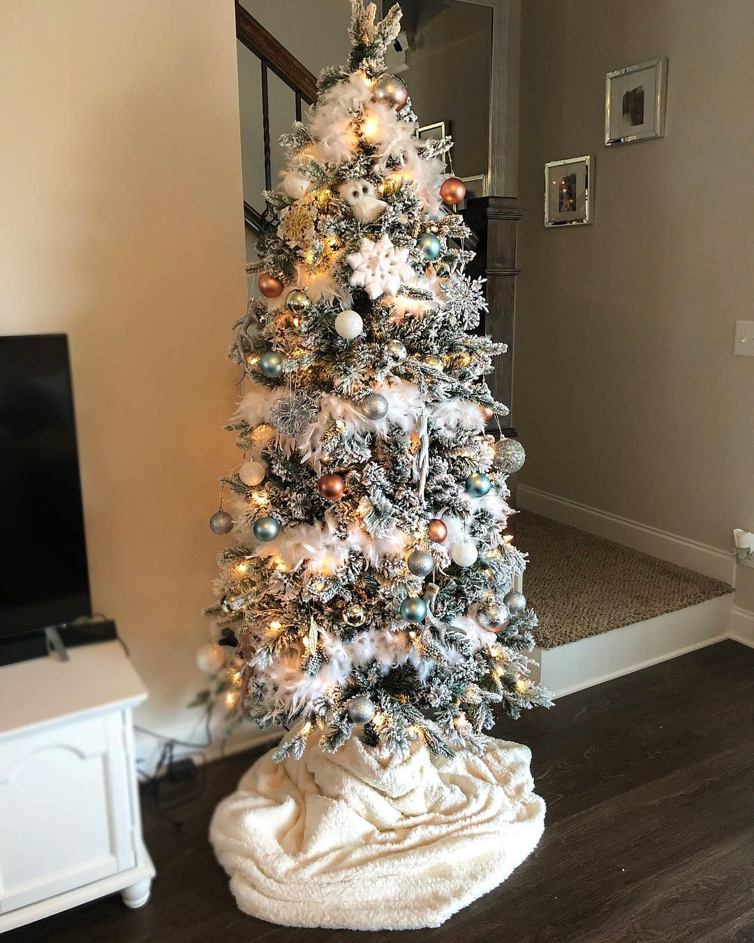 I Really Wanted A Flocked Tree This Year I Found This One On Sale Score Christ Christmas Tree Decorations Christmas Tree Holiday Decor