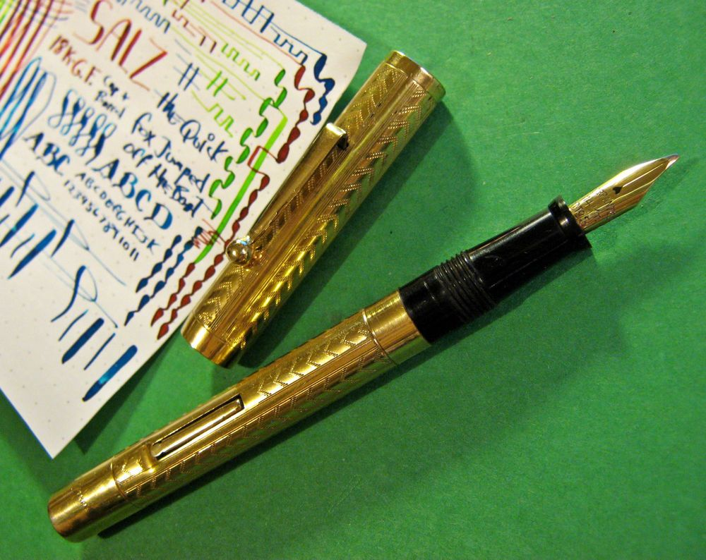 Salz 18K G.F Overlay Fountain Pen Flex Fine Stub 14K Gold #3 Nib vtg flexible #Salz
