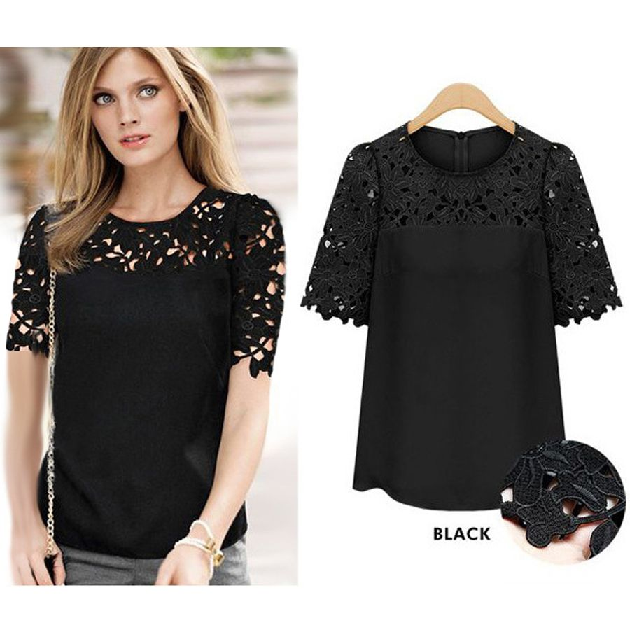2016 Fashion New Arrived Summer Ladies Blouse O Neck Soild Hollow ...
