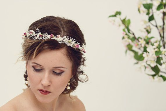 Natural rose crown Bridal crown Dried flower by MaijasWeddingBliss