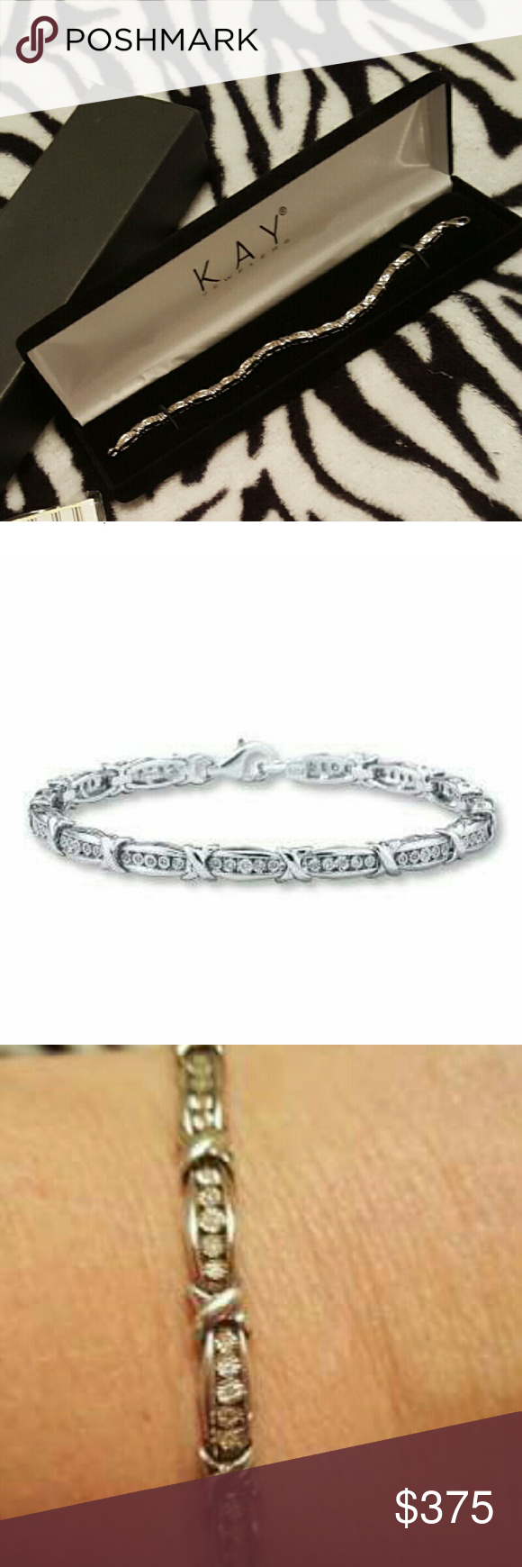 """✖Key Jewelry's✖Diamond Tennis Bracelet✖ Key Jewelry's Diamond Bracelet Sterling Silver. This braclet is brand new * never worn.  Comes with originally receipt, box also a full warranty.  Description: This dazzling piece in Silver and Diamond is a rare find. ❌Brilliant round diamonds sparkle between """"kisses"""" of sterling silver in this memorable bracelet for her. The bracelet, with a total diamond weight of 1/4 carat, is secured with a lobster clasp. Diamond Total Carat Weight may range from…"""