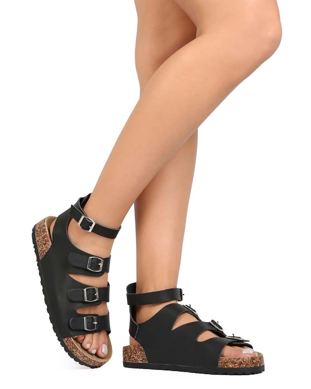 8ae3c9b489 New-Women-Nature-Breeze-Melbourne-12-Leatherette-Open-Toe -Buckle-Footbed-Sandal