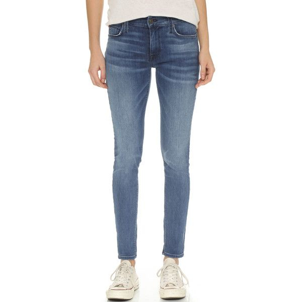 Hudson Nico Midrise Super Skinny Jeans (1.935 NOK) ❤ liked on Polyvore featuring jeans, mission control, blue skinny jeans, mid-rise jeans, super stretch skinny jeans, blue jeans and stretchy skinny jeans
