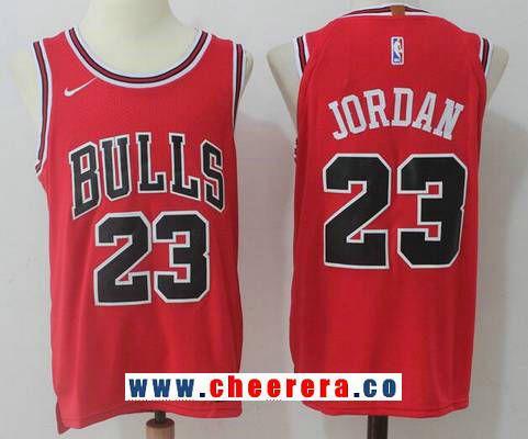 484e468647c Men s Chicago Bulls  23 Michael Jordan Red 2017-2018 Nike Swingman Stitched  NBA Jersey