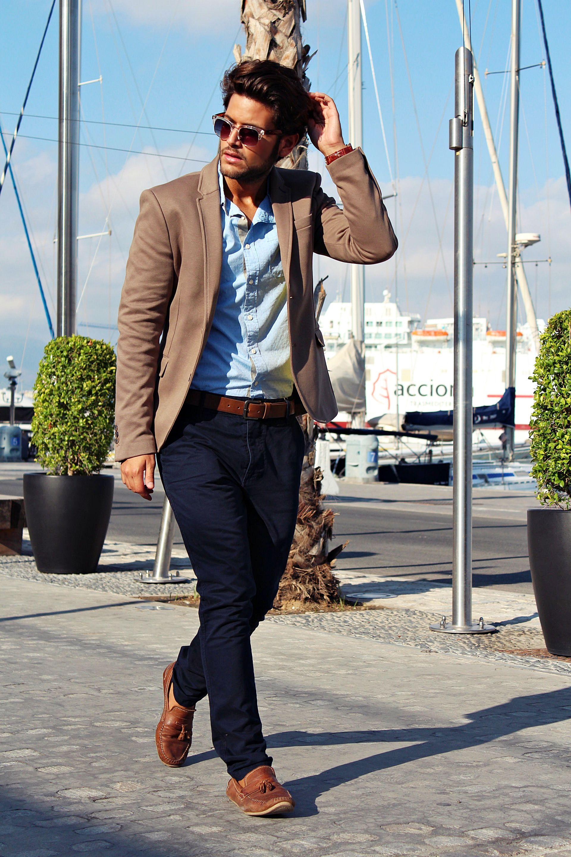Tan Blazer Dark Blue Pants Light Blue Shirt Blazer Outfits Men Blue Shirt Outfits Casual Look For Men