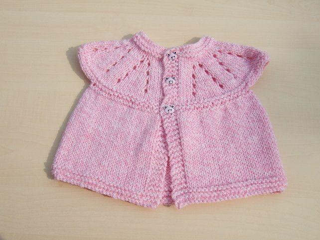ee78daffa Baby sleeveless cardigan hand knitted in pink and cream mix - newborn £5.00
