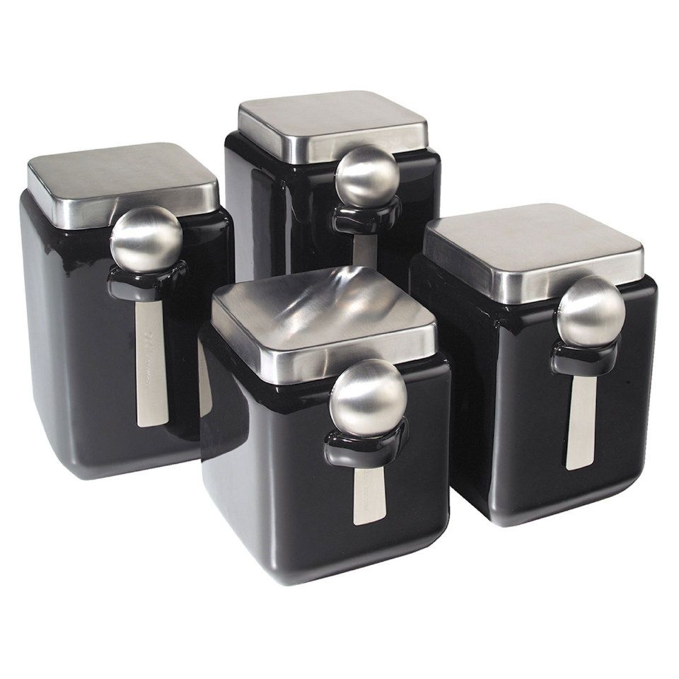 oggi 4 piece ceramic square canister set in black beyond the oggi ceramic square canister set with stainless steel spoon and lid black