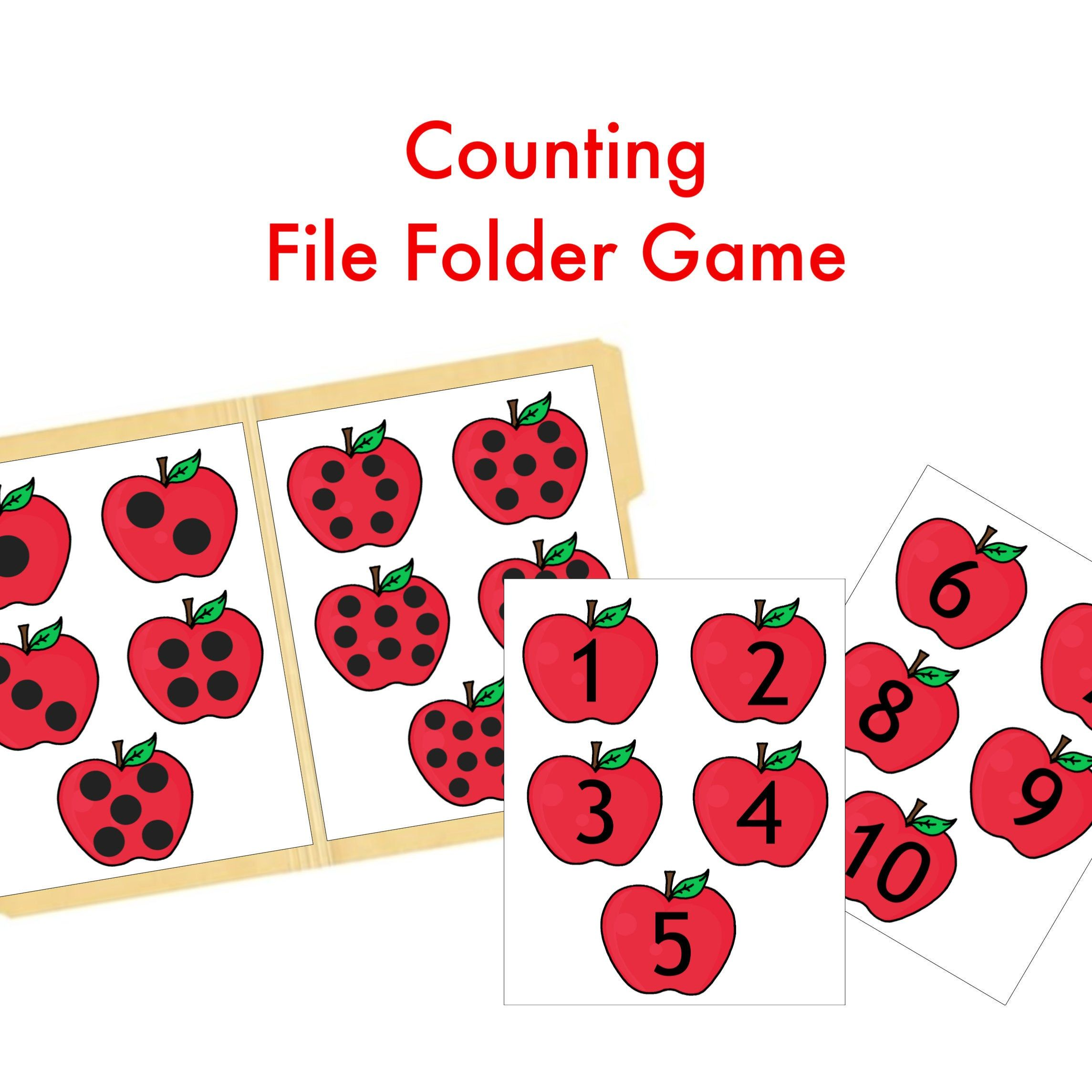 Counting And Matching File Folder Games Apple Printable In