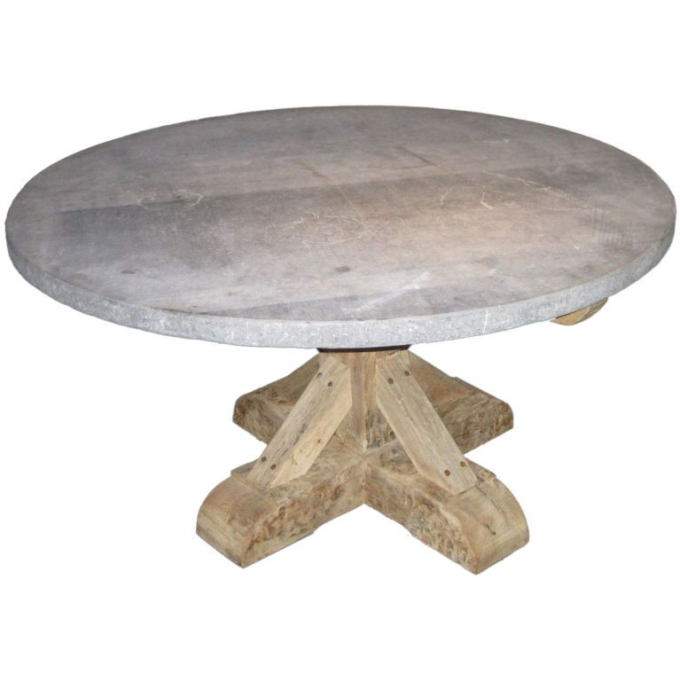 belgian round bluestone top dining table, 19th century base
