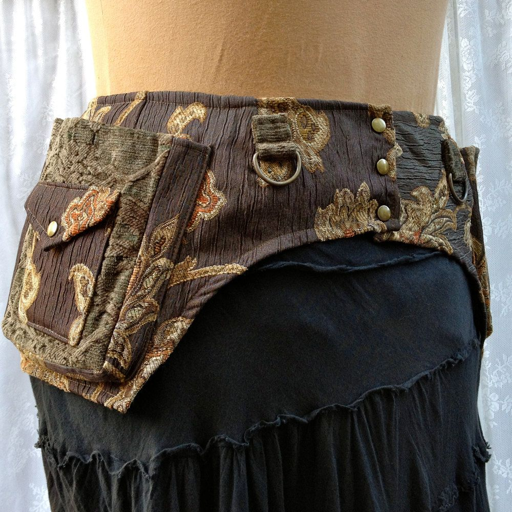 Steampunk costume belt - toolbelt with pockets - green tapestry - size Medium.