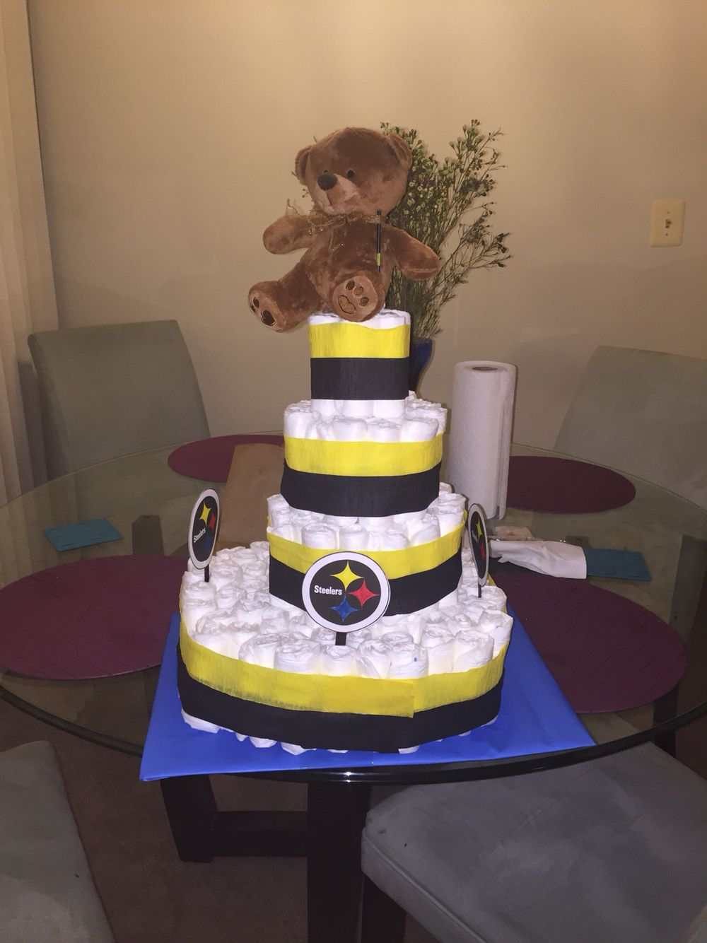 Steelers diaper cake for my friends baby! Not bad for my first diaper cake