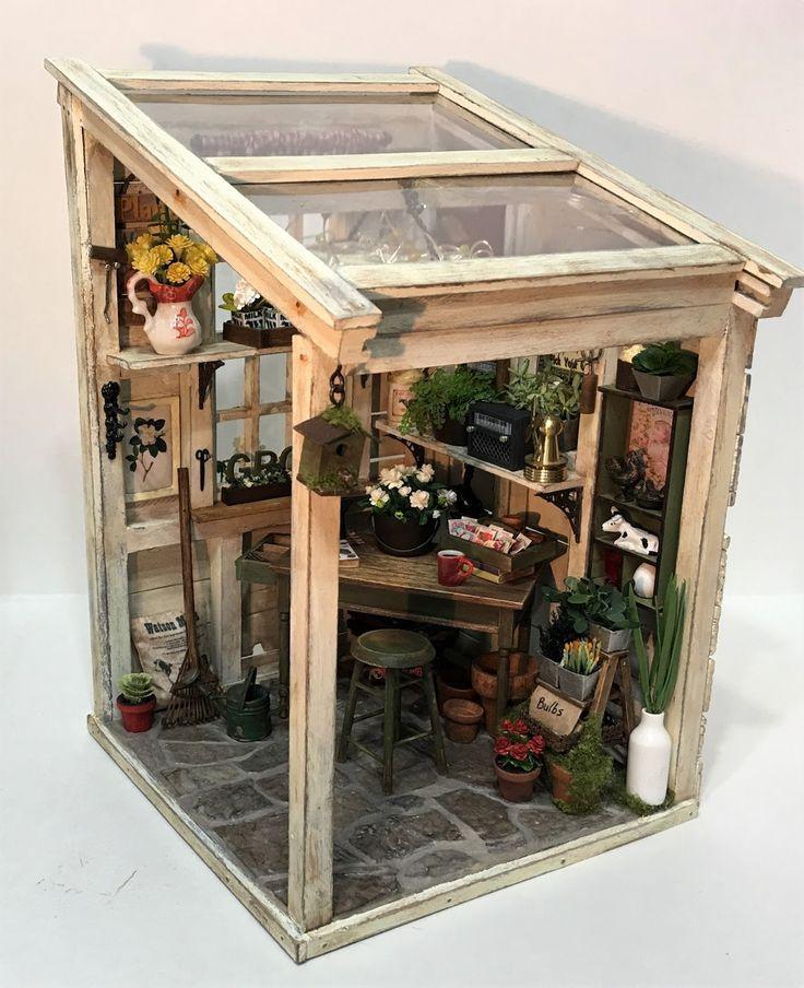Miniatur-Mini-Gewächshaus-Raumbox im Maßstab 1:12 #miniaturedollhouse