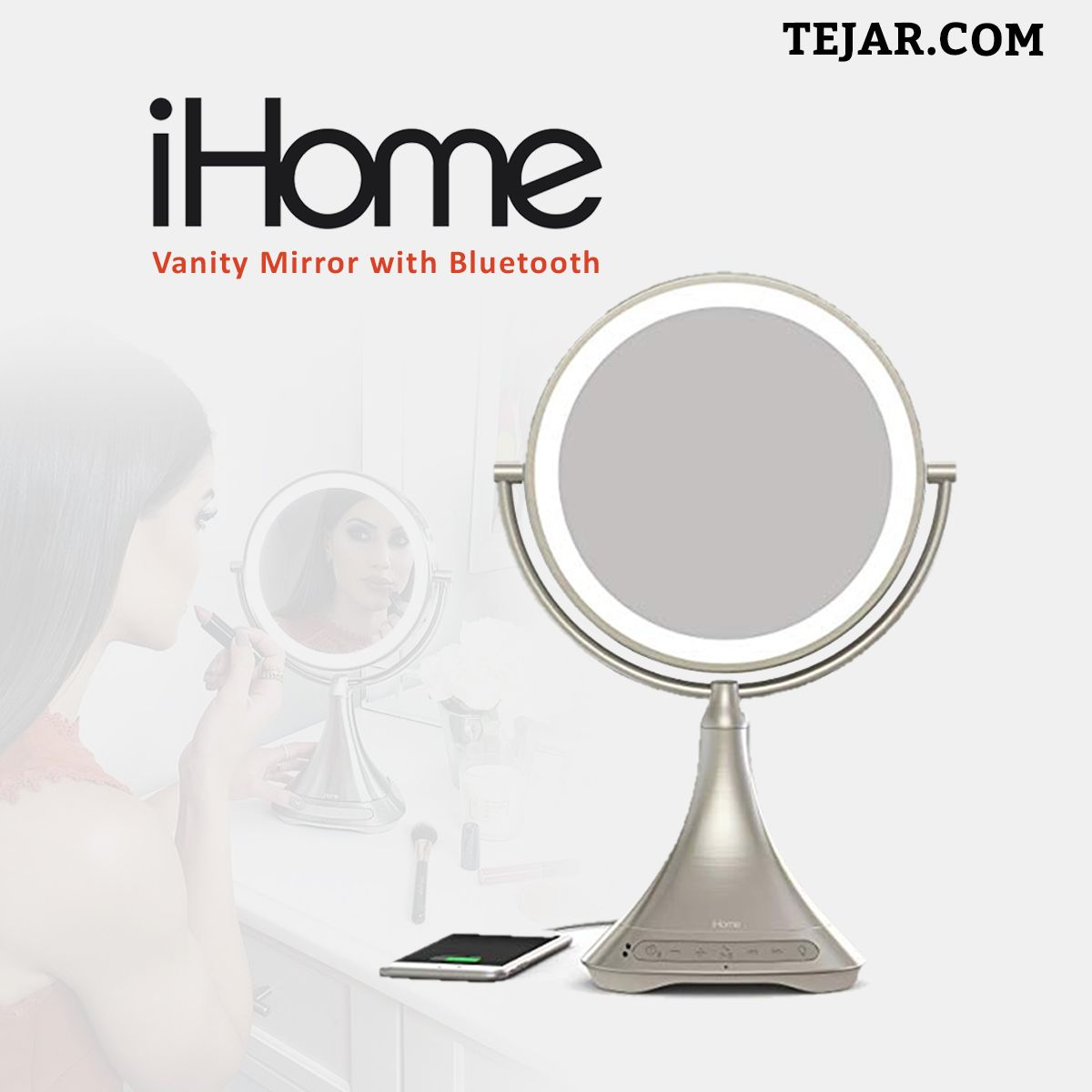 Ihome Icvbt7 9 Double Sided Portable Vanity Mirror With Bluetooth Audio Ihome Bluetooth Audio Wireless Audio