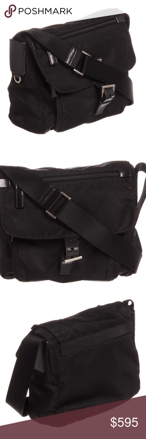 be26e249f90f Prada Black Nylon Leather Crossbody Flap Bag Black Prada nylon leather  crossbody bag with silver tone