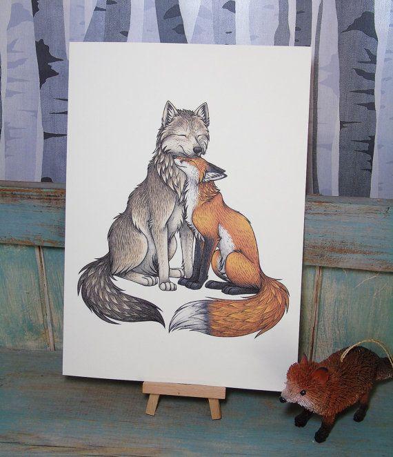 Lobo y zorro ilustracin A4 impresin en 270gsm tarjeta  Cuarto