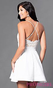 59516bc95d4 Image of short lace-bodice v-neck homecoming dress. Style  LUX-LD2236 Back  Image
