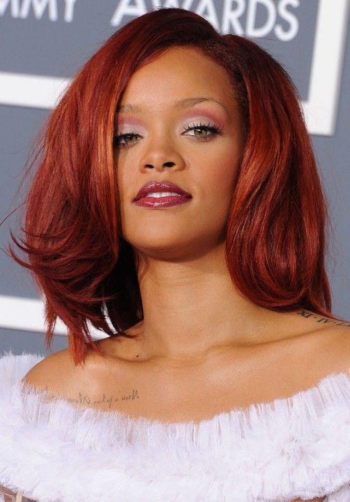 Rihanna Hairstyles Medium Cherry Red Hair Hairstyles Weekly Rihanna Red Hair Rihanna Hairstyles Hair Color Auburn