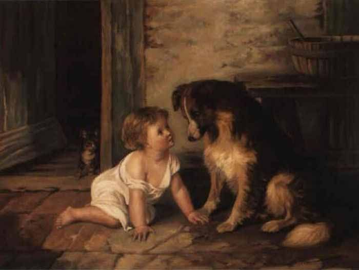 Arthur Hacker, Making Friends with a Collie, 1889
