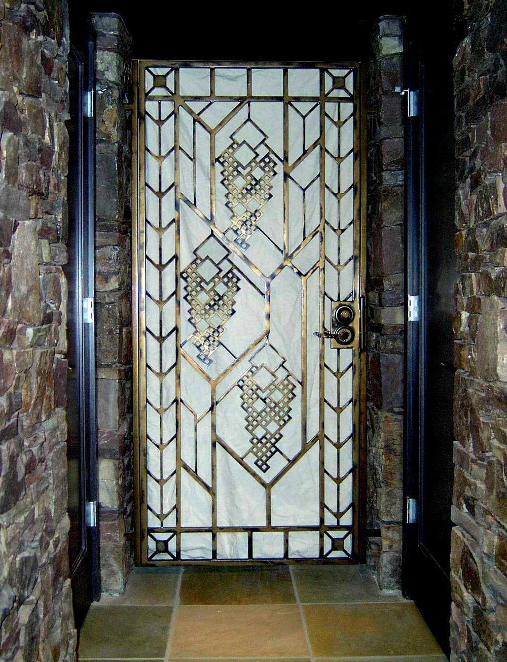 Ironwork Frank Lloyd Wright Inspired Wine Cellar Gate