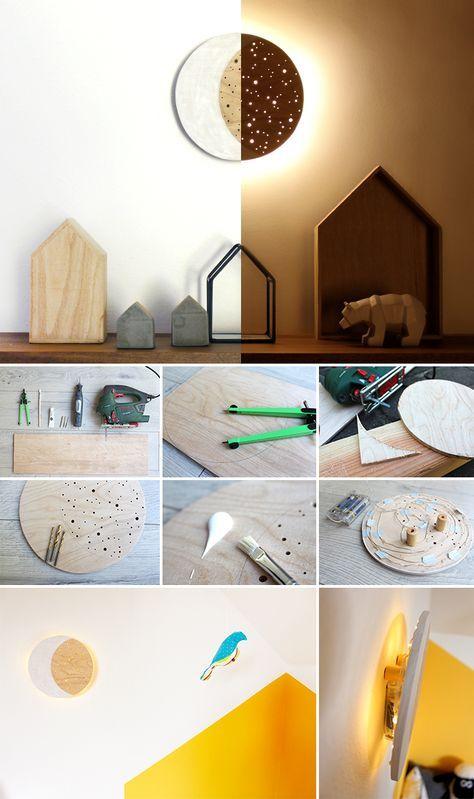 New DIY Nachtlicht Lampe Holz Lichterkette Kinderzimmer Kinder Mondlampe