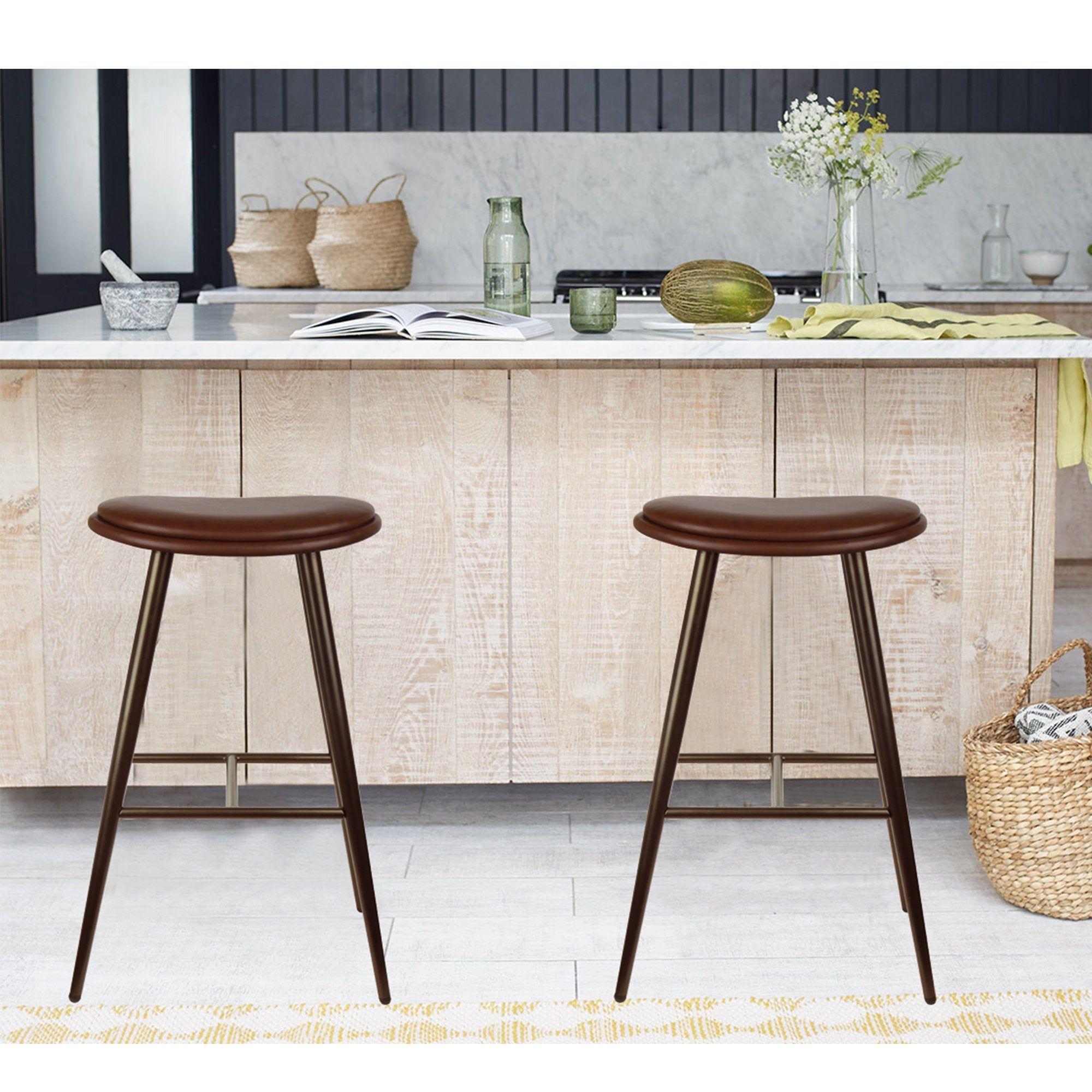 30 Saddle Seat Oval Metal Bar Stool With Vegan Leather Set Of 2 In 2020 Metal Bar Stools Bar Stools Antique Finish Furniture