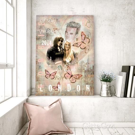 Personalisierte Porträt Collage Vintage, individuelles beste Freunde Geschenk, anpassbares Familien Wandbild, Poster, Leinwand, Download