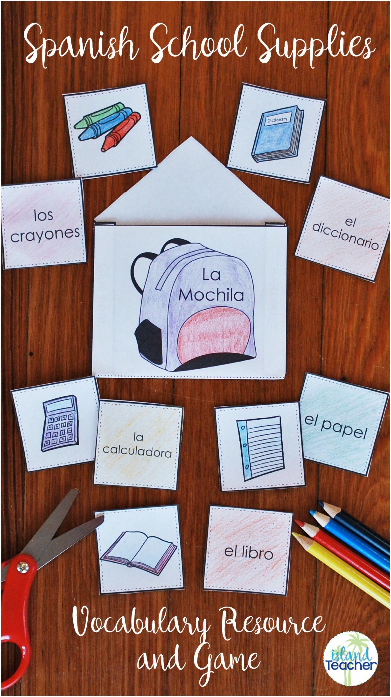 Spanish School Supplies Interactive Notebook Practice