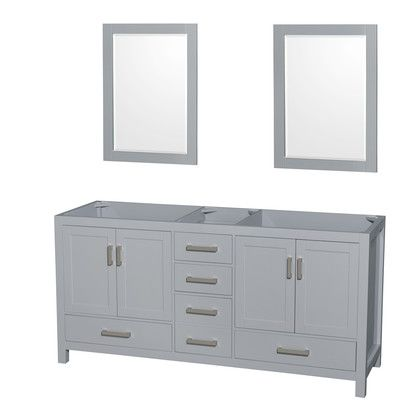 "Wyndham Collection Sheffield 71"" Double Bathroom Vanity Base Base Finish: Gray"