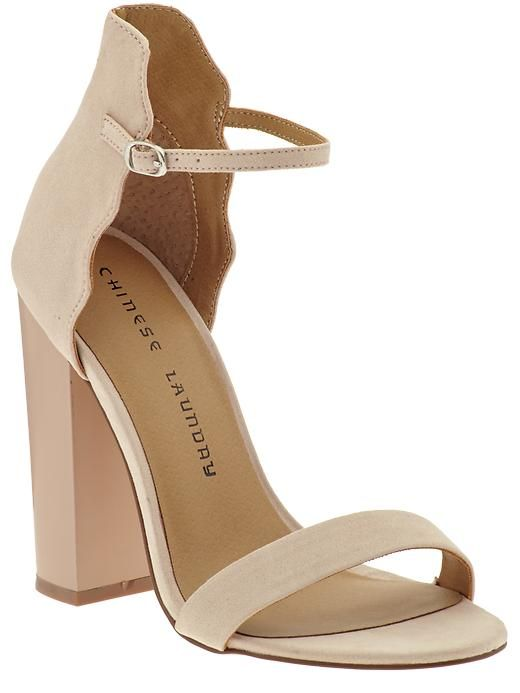 Chinese Laundry nude suede ankle strap heels with chunky heel $39 ...
