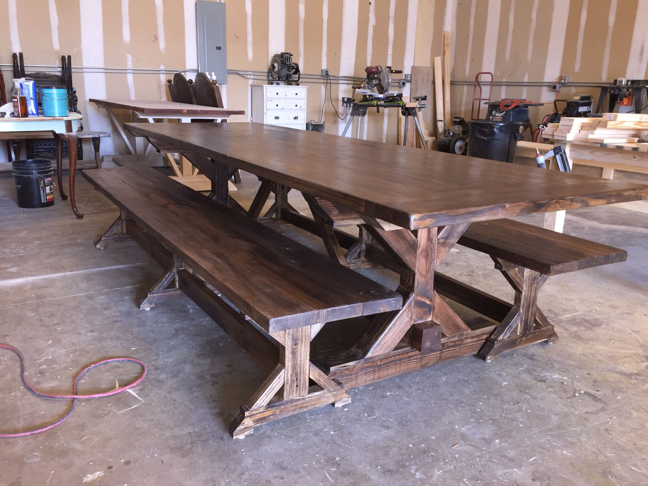 4x4 X Base Farmhouse Table 8 Ft Dining Table Dining Room Table