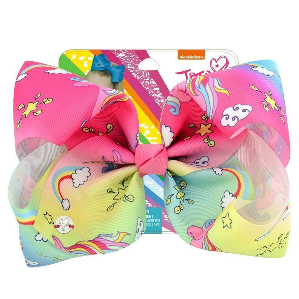 JOJO SIWA 8 inches Cartoon Bow Xmas Printed Hair Bow With Clip Girl Kids Bowknot