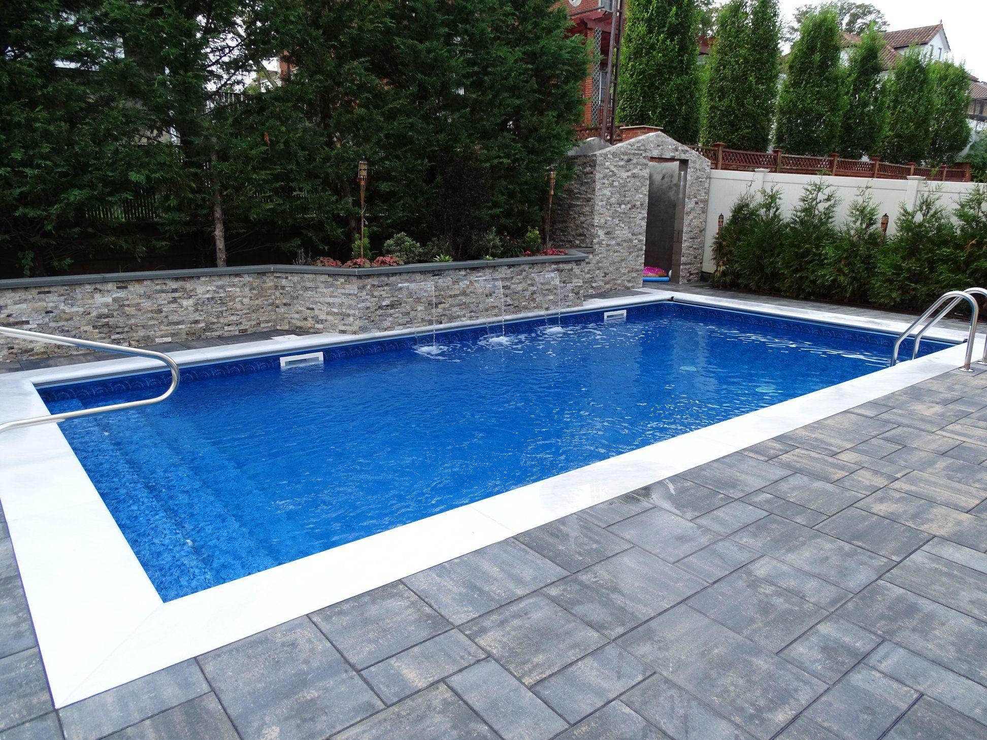 Inground Pool With 3 Sheer Descent Waterfalls Pool Houses Pool Installation Backyard Pool