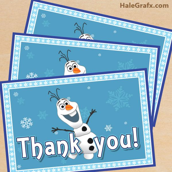 Free Printable Frozen Thank You Card With Olaf Frozen Party Printables Frozen Party Frozen Themed Birthday Party