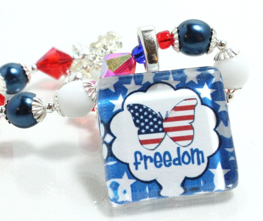 Red, White, and Blue Patriotic Beaded Bracelet With Freedom Glass Tile, $22