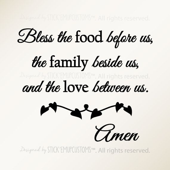 Bless The Food Before Us Family Beside And Love Between Amen Wall Decal Religious Quote Prayer Dining Room Kitchen Home Decor