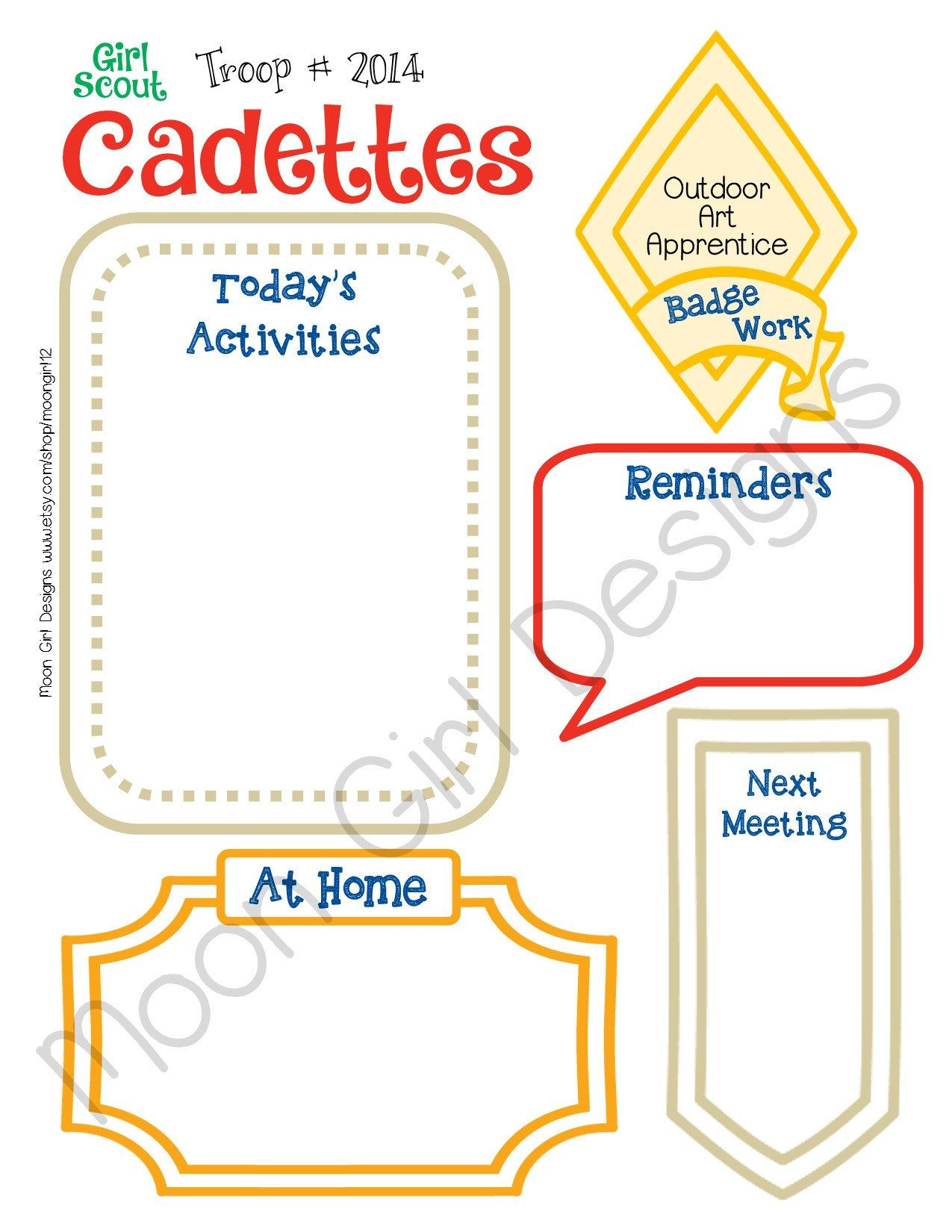 Cadette Meeting Activity Planner Girl Scouts Fill Able