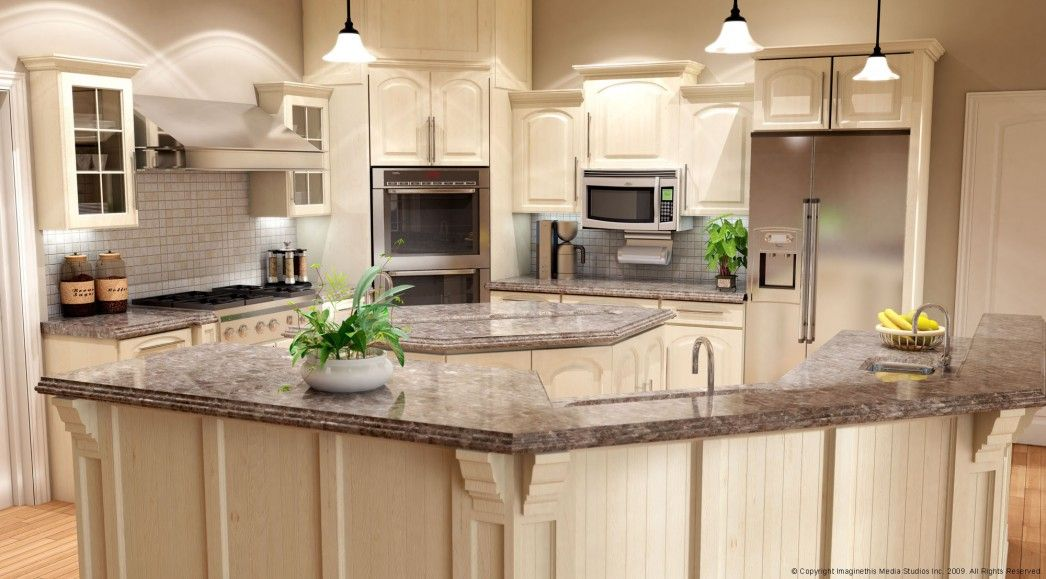 White Kitchen Cabinets With Brown Marble Top Island Design