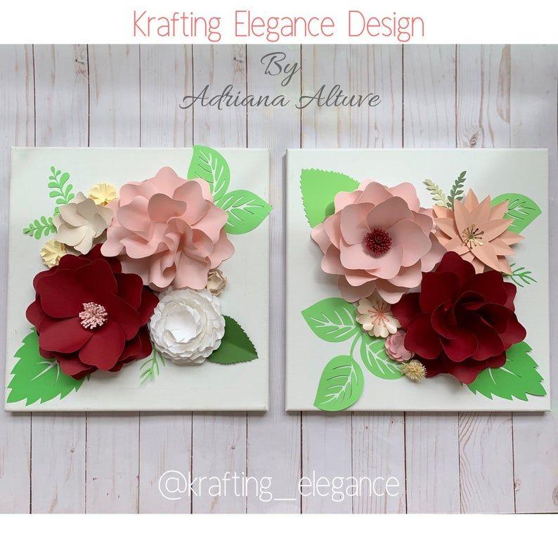 paper roses paper flowers decor paper flower canvas paper flowers wall art paper flowers frame Canvas 12x12 paper hydrangeas