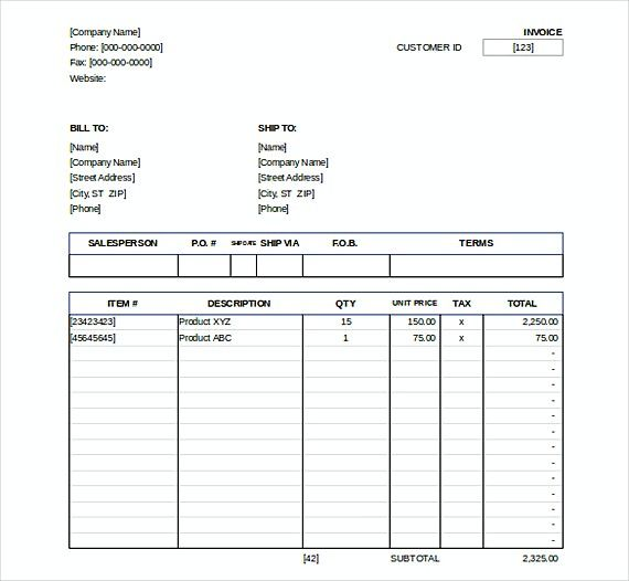 Downlodable Sales Invoice Templates  Downloadable Invoice