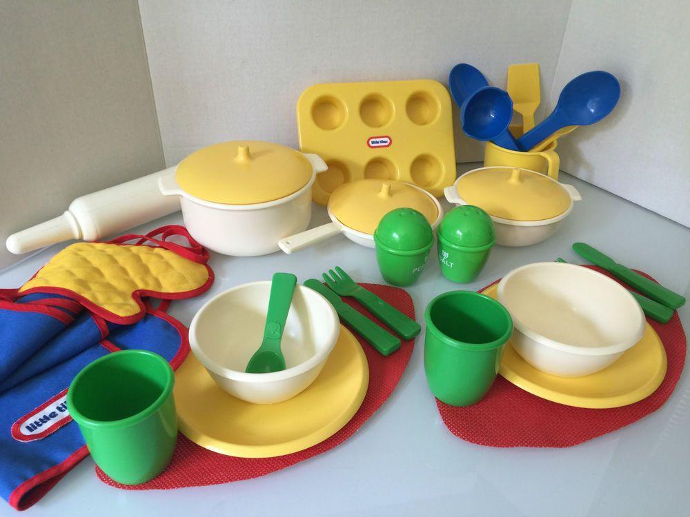 28pc Vintage Little Tikes Play Dishes Kitchen Pots Pans Baking Pretend Food