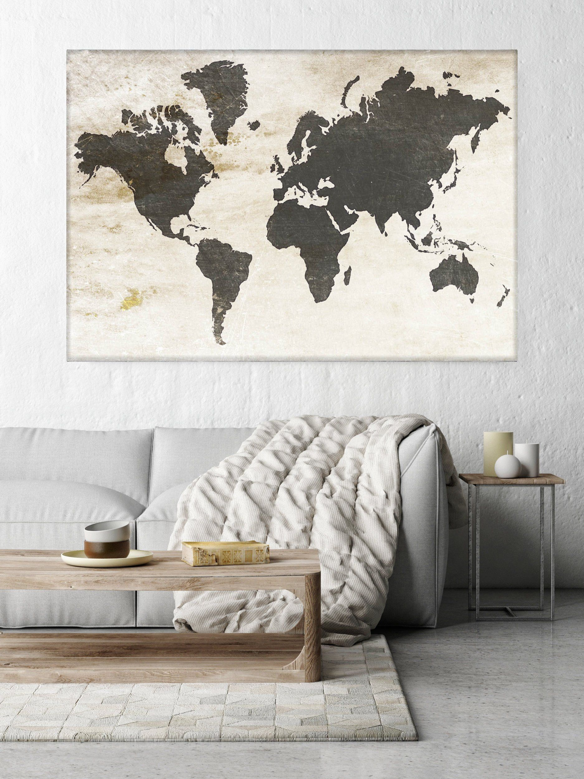 Huge world map executive gift rustic map industrial art