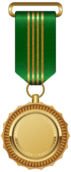 Gold Medal With Green Ribbon Png Clipart Image Ribbon Png Clip Art Green Ribbon