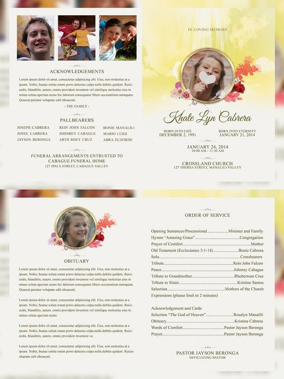 In Loving Memory Funeral Brochure  Brochure Templates