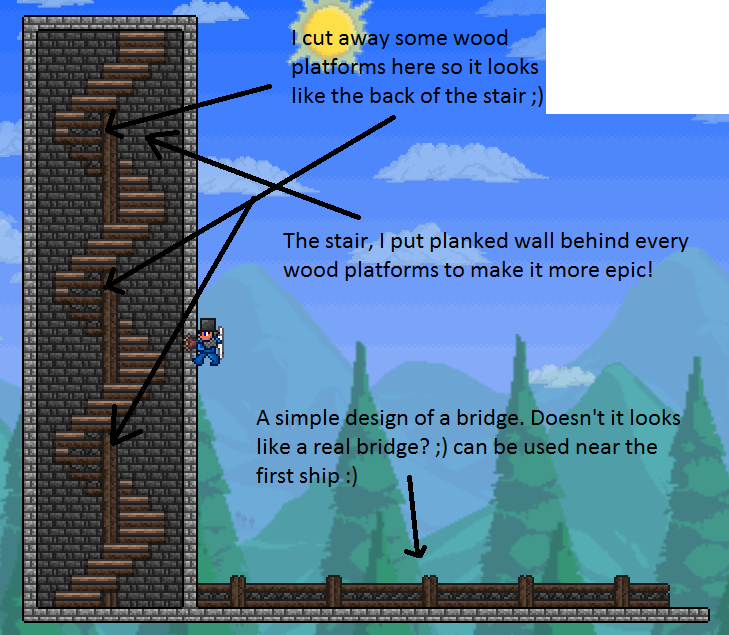 awesome stairs and a fence | terraria | Terraria tips