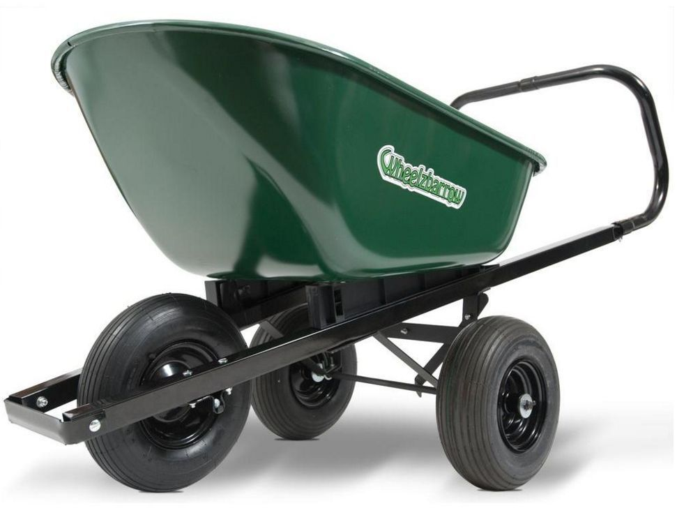 6 Cu Ft Versatile 3 Wheel Cart Wheelbarrow Outdoor Garden Yard Metal Push  Wagon #Wheelzbarrow