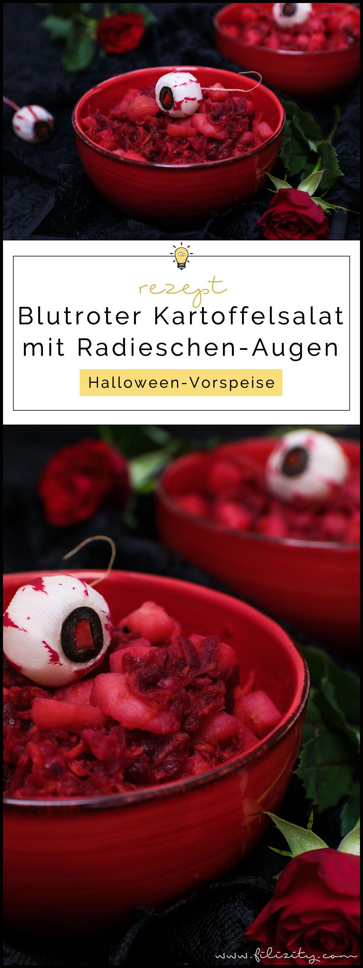 Halloween Rezept: Blutroter Kartoffelsalat mit Radieschen-Augäpfeln | Filizity.com | Food-Blog aus dem Rheinland