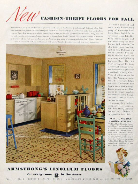 1936 armstrong floor ads - fashion thrift linoleum floors - retro