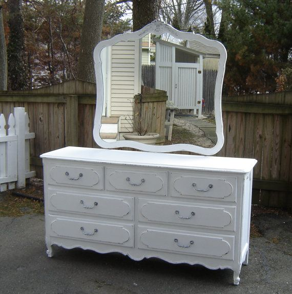 White Vintage Shabby Chic Dresser & Mirror by seasidefurnitureshop, $375.00 - Reserved For Michelle.....White Vintage Shabby Chic Furniture