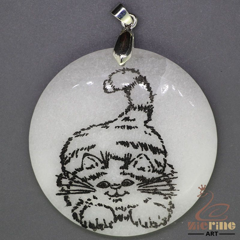 UNIQUE NECKLACE COLOR PAINTING CAT PENDANT WHITE GEMSTONE ZL7000408 #ZL #Pendant