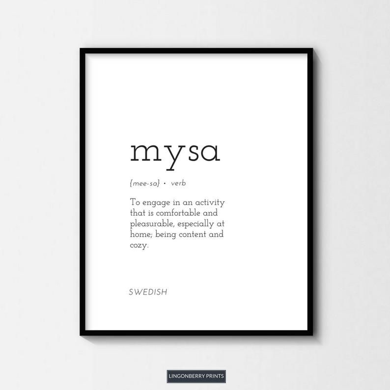 Mysa Definition Print, Swedish Scandinavian Nordic, Cozy Cosy Minimal Style, Dictionary Quote Modern, Housewarming Gift Wall Art